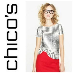 Chico's Striped Sequin White & Navy Top S0